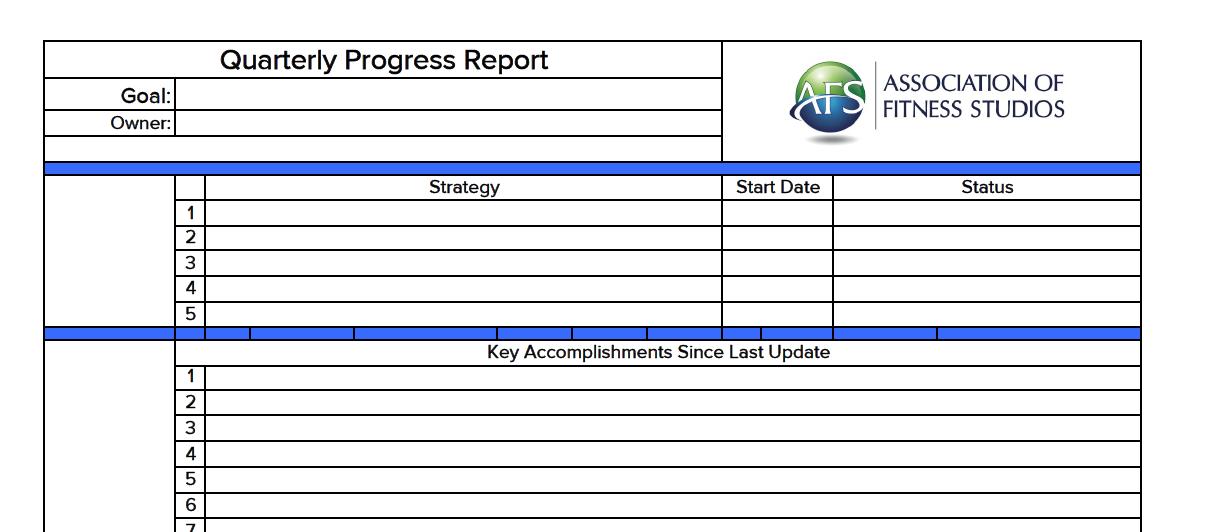 Quarterly Progress Report The Association of Fitness Studios