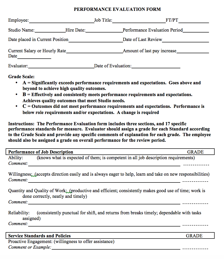 Performance Evaluation Form | The Association of Fitness Studios