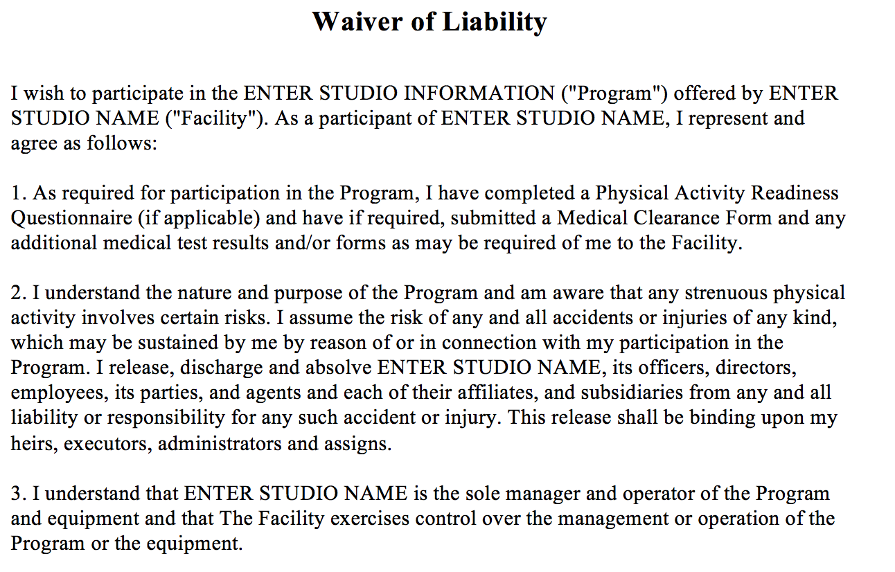 The Association Of Fitness Studios  Basic Liability Waiver Form
