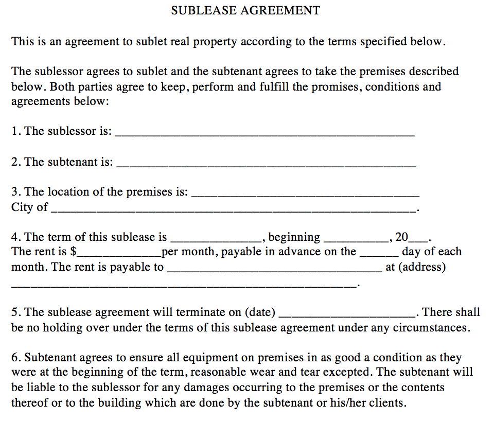 Sublease Agreement The Association Of Fitness Studios