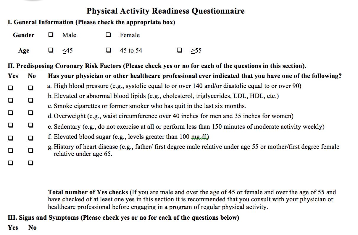 Par-Q | The Association of Fitness Studios